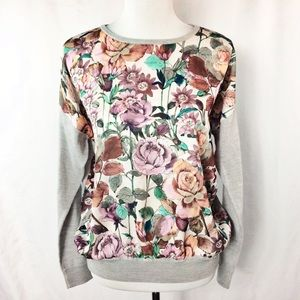 Brooks Brothers Floral Mixed Media Sweater NWT